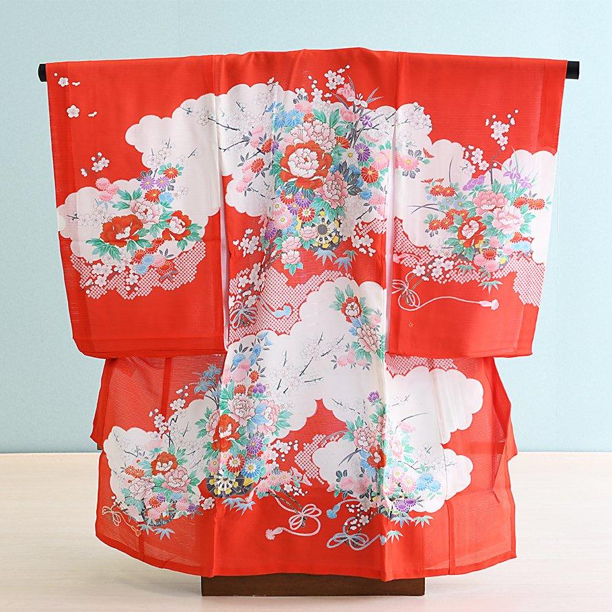 激安格安 お宮参り・初着レンタル 女の子用(nO-2)赤/牡丹・花車 夏用・絽|産着・のしめ