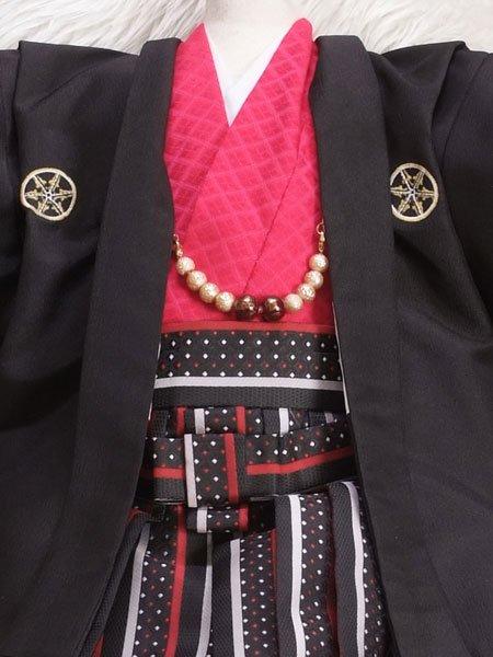 男の子ベビー着物レンタル(BB-1)1歳〜1歳6ヶ月 黒・赤