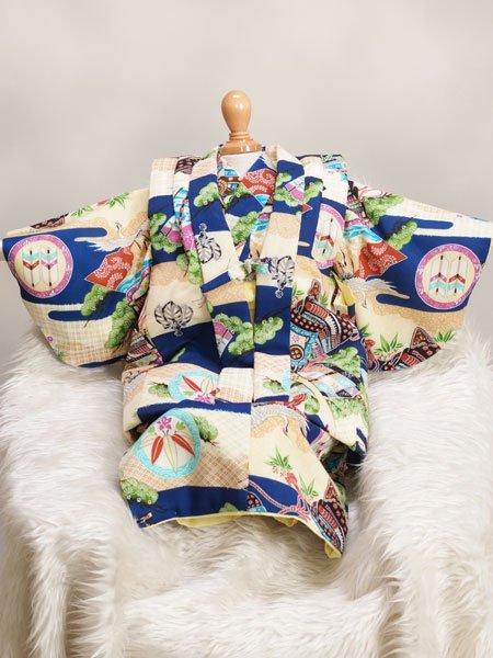激安格安 男の子ベビー着物レンタル(BB-3)6ヶ月〜1歳 青/かぶと|初節句・百日記念