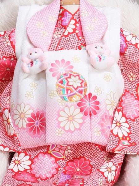 女の子ベビー着物レンタル(BG-4)1歳〜1歳6ヶ月 赤・白
