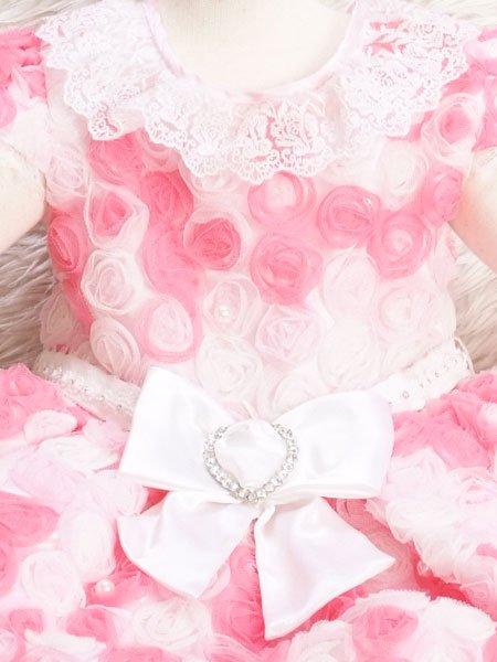 女の子ベビードレスレンタル(BG-9)1歳6ヶ月〜2歳 ピンク・白/レース