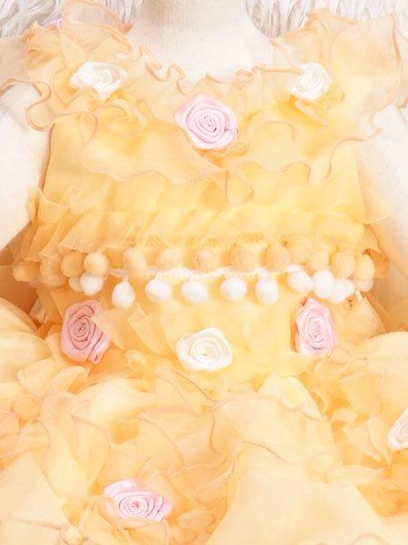 女の子ベビードレスレンタル(BG-11)1歳〜1歳6ヶ月 オレンジ/バラ