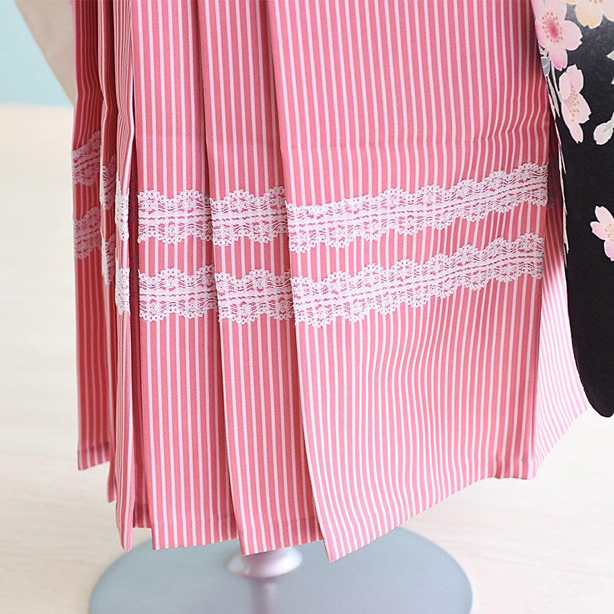 6〜7歳女児袴レンタルセット(7-33-ha_pr)白/花|ピンク/レース ひさかたろまん みに