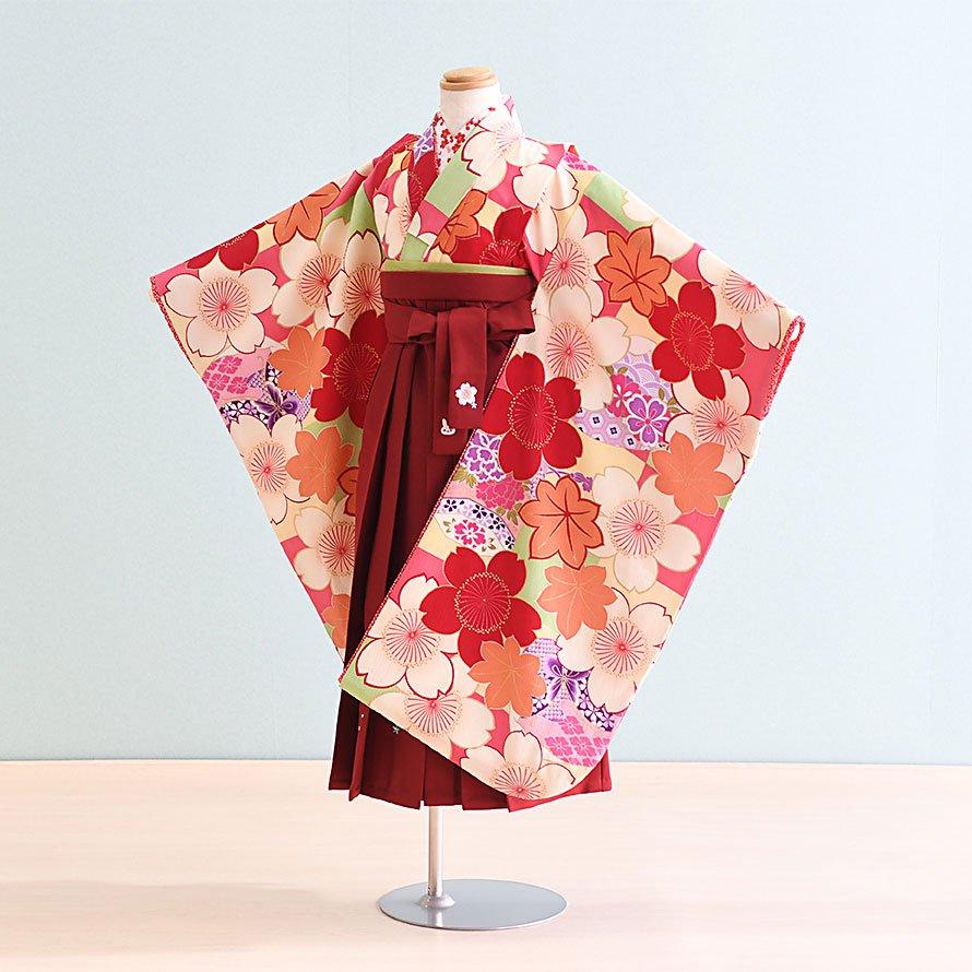 6〜7歳女児袴レンタルセット(7-42-ha_e2)ピンク・オレンジ/桜|エンジ/桜 乙葉