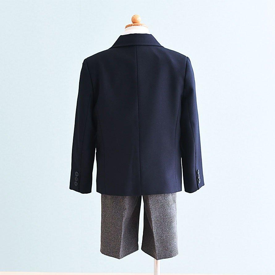 男の子フォーマルスーツレンタル(FB-15)110/半ズボン 黒|グレー/チェック
