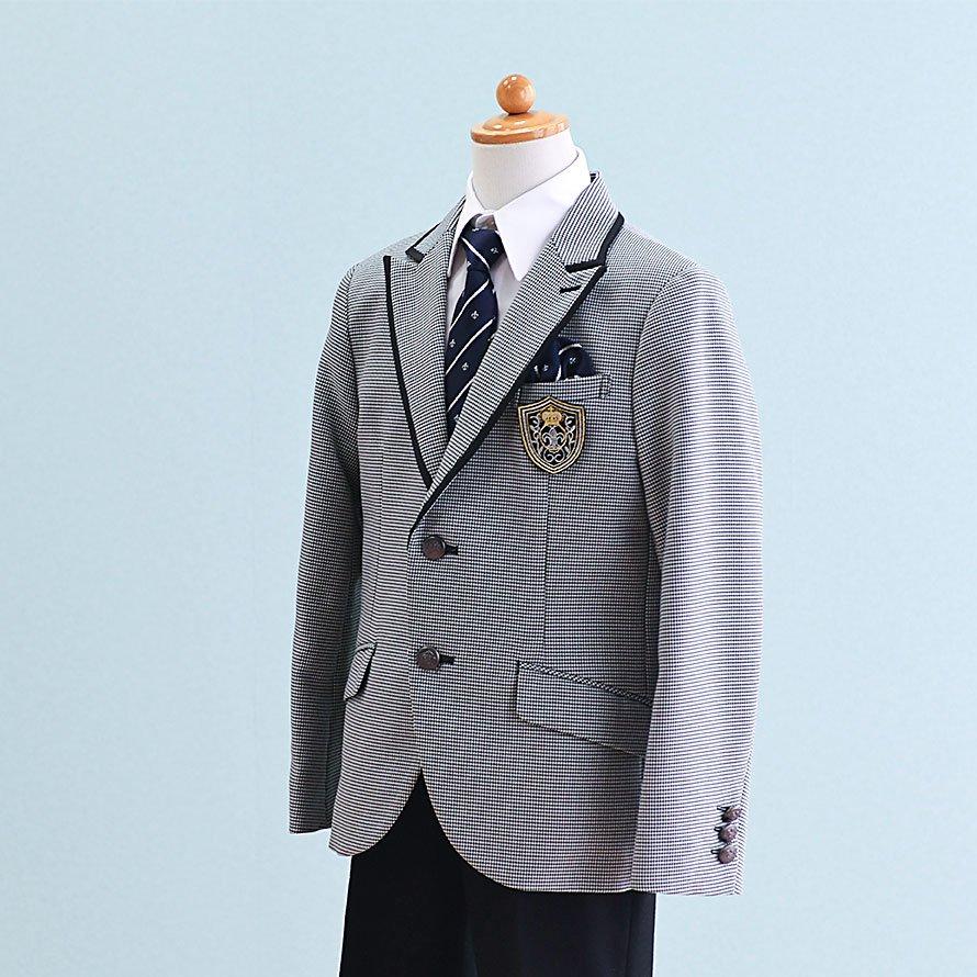 男の子フォーマルスーツレンタル(FB-17)130/半ズボン 白×黒/千鳥格子 MICHIKO LONDONミチコロンドン