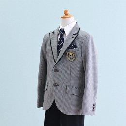 男の子スーツレンタル(FB-17)130/半ズボン 白×黒/千鳥格子 MICHIKO LONDONミチコロンドン