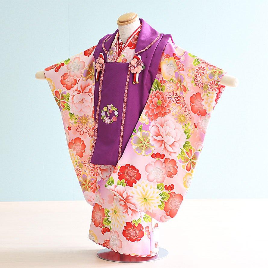 七五三着物三歳被布レンタルセット(3-48)うす紫・紫/花・古典 式部浪漫