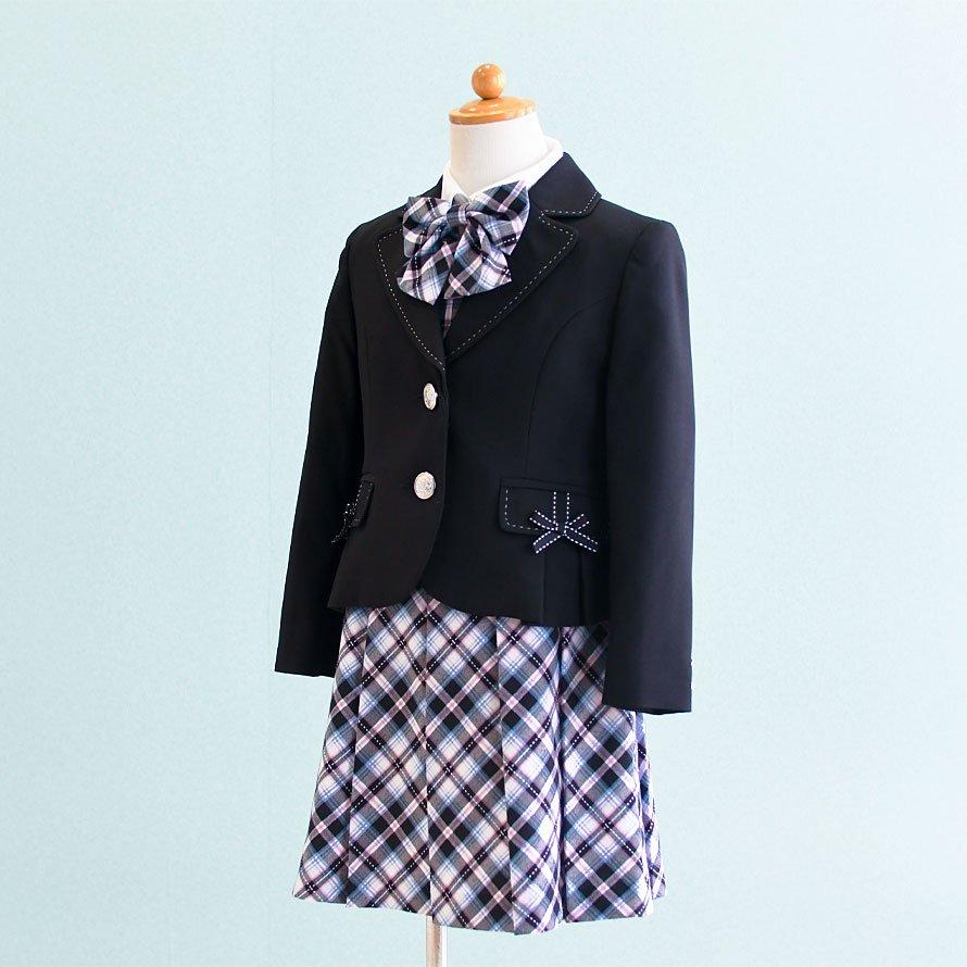 女の子フォーマルスーツレンタル(FG-16)120 黒・ピンク・水色/チェック