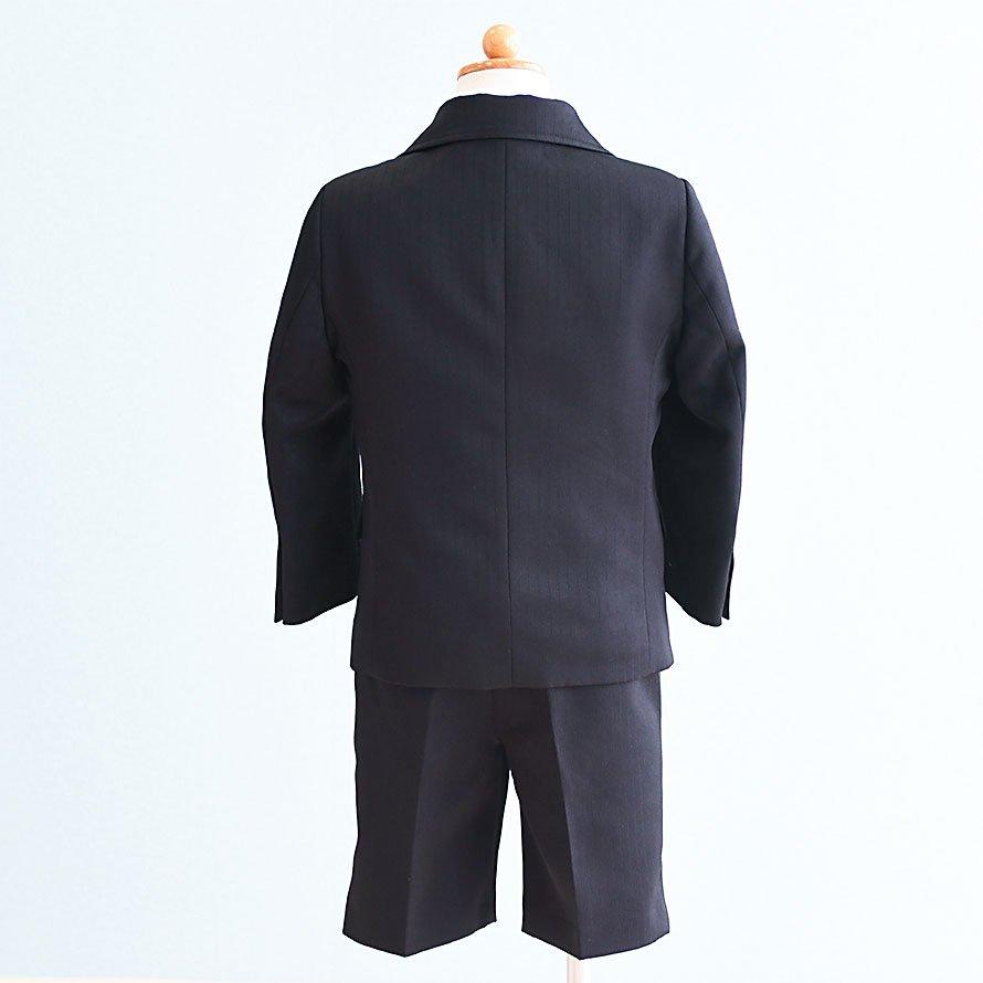 男の子フォーマルスーツレンタル(FB-27)100/半ズボン 黒/ストライプ OLIVER HOUSEオリバーハウス