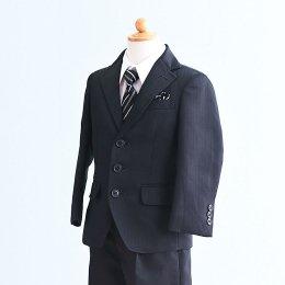 男の子スーツレンタル(FB-27)100/半ズボン 黒/ストライプ OLIVER HOUSEオリバーハウス