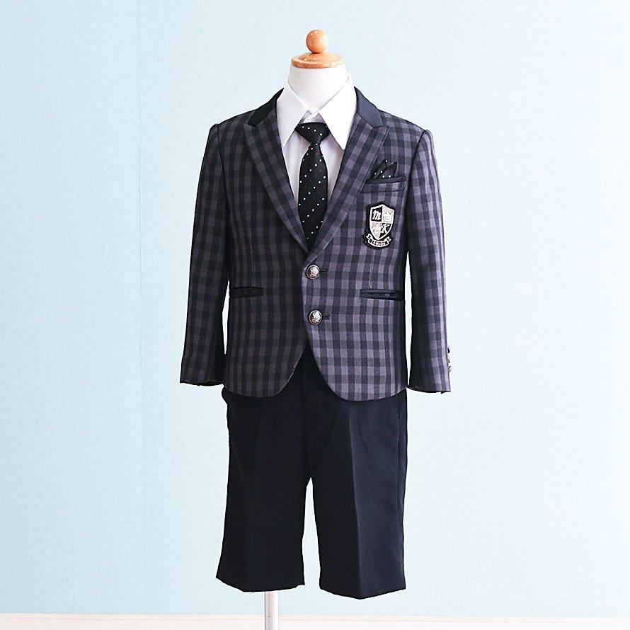 男の子フォーマルスーツレンタル(FB-28)100/半ズボン 黒・グレー/チェック MICHIKO LONDONミチコロンドン