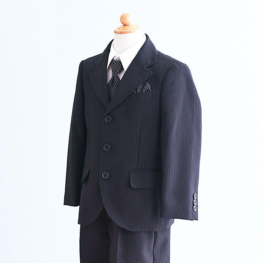 激安格安 男の子フォーマルスーツレンタル(FB-29)110/半ズボン 黒/ストライプ OLIVER HOUSE|卒業式