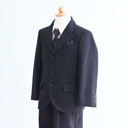 男の子スーツレンタル(FB-29)110/半ズボン 黒/ストライプ OLIVER HOUSEオリバーハウス