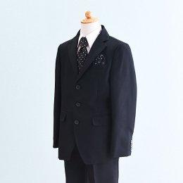 男の子スーツレンタル(FB-31)130/半ズボン 黒/ストライプ OLIVER HOUSEオリバーハウス