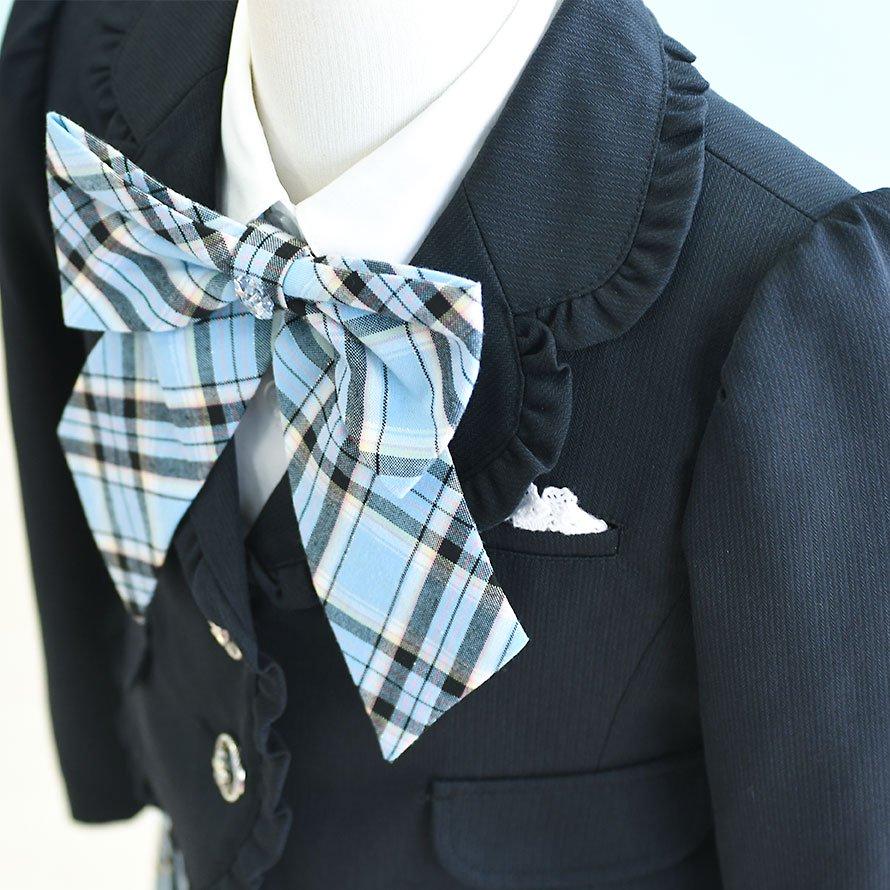 女の子フォーマルスーツレンタル(FG-18)115 紺・水色/チェック WHIP PARTYホイップパーティ