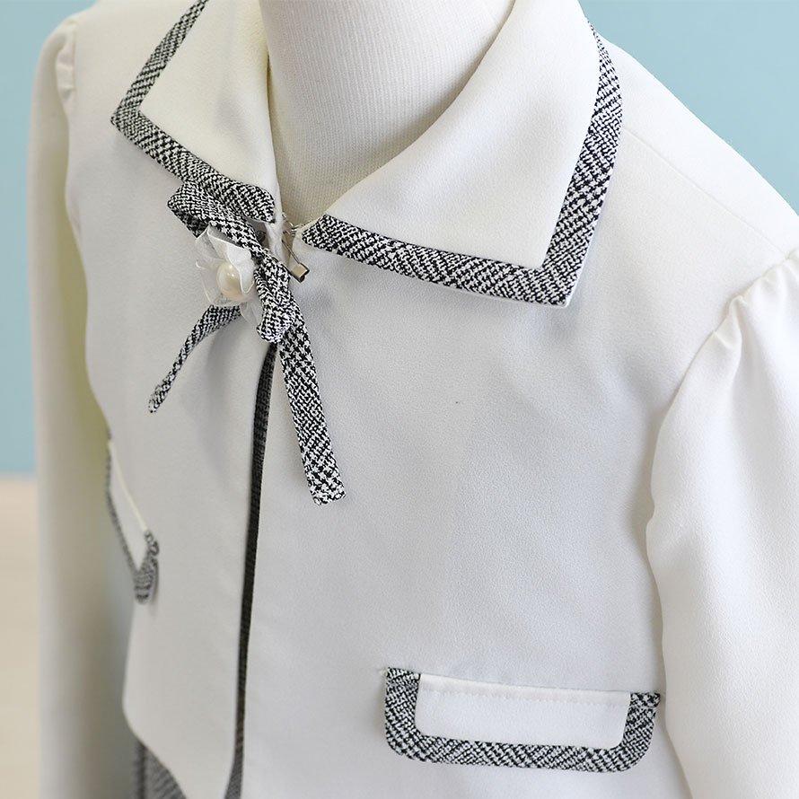 女の子フォーマルスーツレンタル(FG-24)130 白・グレー/チェック