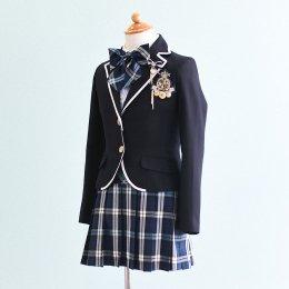 女の子スーツレンタル(FG-25)140 黒・青/チェック DECORA PINKY'Sデコラピンキーズ