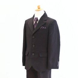 男の子スーツレンタル(FB-35)120/半ズボン 黒/ストライプ OLIVER HOUSEオリバーハウス