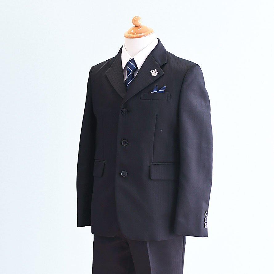 男の子フォーマルスーツレンタル(FB-39)140 黒/ストライプ MICHIKO LONDONミチコロンドン