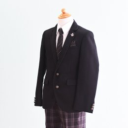 男の子スーツレンタル(FB-41)140 黒|黒/チェック MICHIKO LONDONミチコロンドン