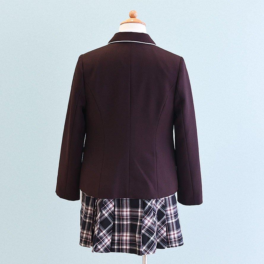 女の子フォーマルスーツレンタル(FG-33)150 茶・ピンク/チェック MICHIKO LONDONミチコロンドン