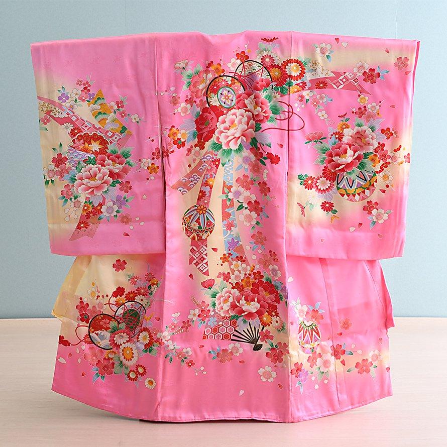 激安格安 お宮参り・初着レンタル 女の子用(O-17)ピンク・黄/鞠・花 産着・のしめ・祝い着