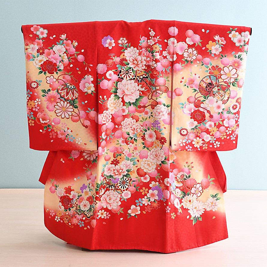 激安格安 お宮参り・初着レンタル 女の子用(O-19)赤/牡丹|産着・のしめ・祝い着
