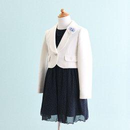 女の子スーツレンタル(FG-40)160 白・紺/水玉 CHOPIN deuxショパンドゥ