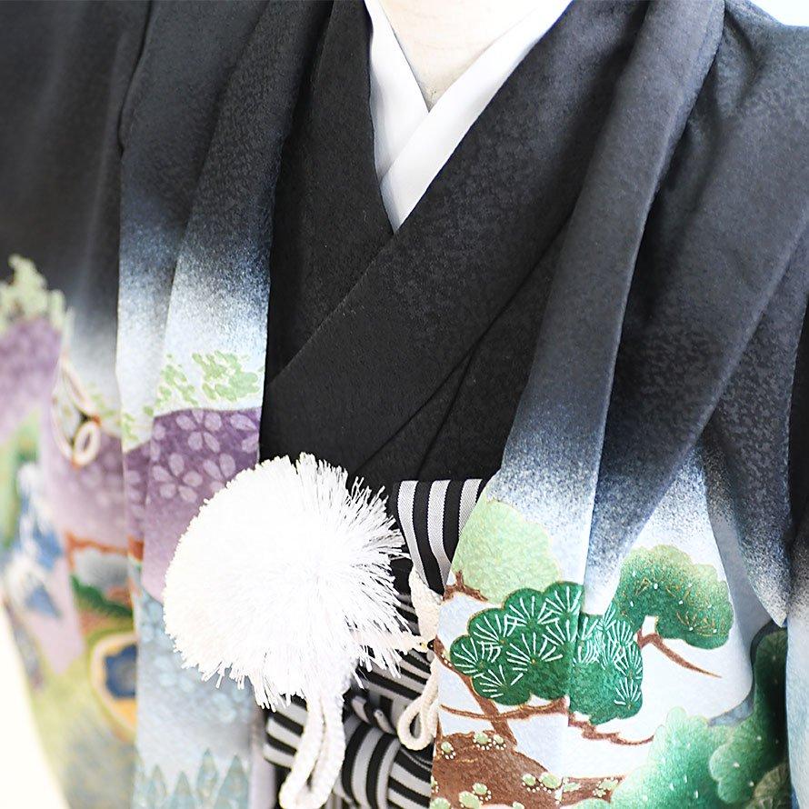七五三着物五歳羽織袴レンタルセット(5-45)黒/馬 100/小さめ三歳も可