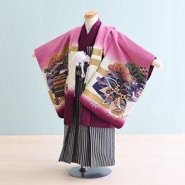 【かんたん着付】七五三着物五歳男の子レンタル(5-49)100/小さめ 赤紫/龍