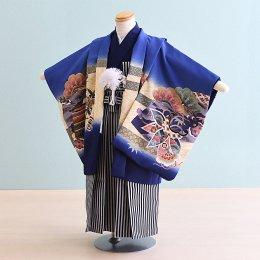 【かんたん着付】七五三着物五歳男の子レンタル(5-50)100/小さめ 青紫/かぶと
