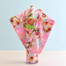 七五三着物七歳女の子レンタル(7-48)ピンク/花