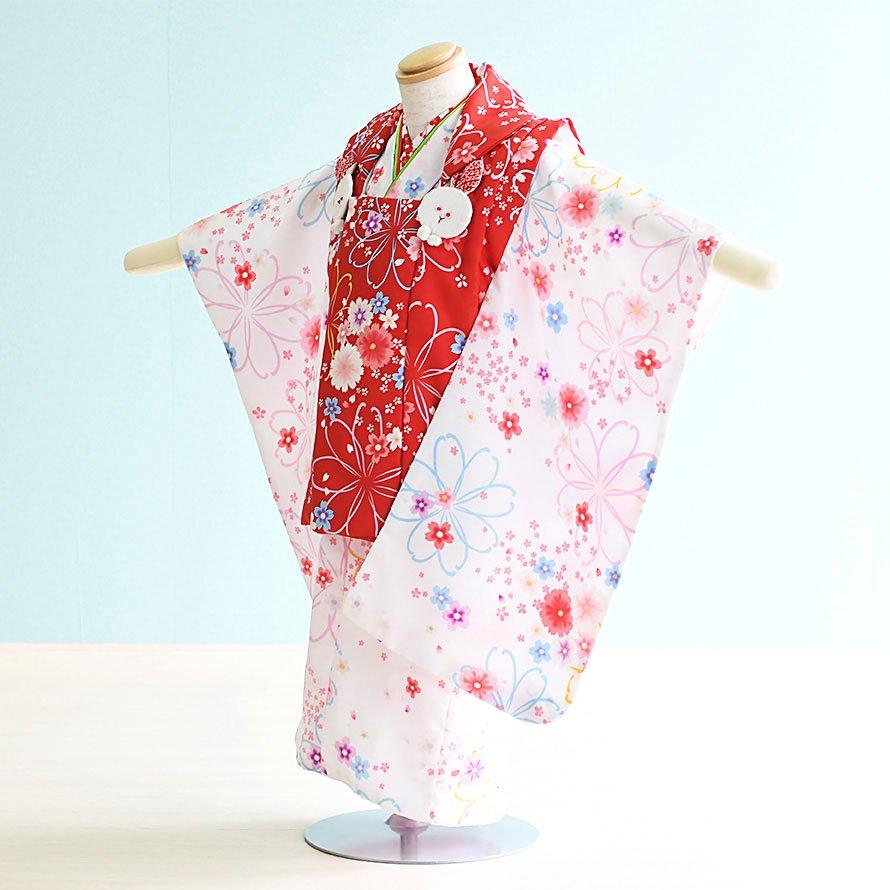 七五三着物三歳被布レンタルセット(3-54)赤・白/花 陽気な天使