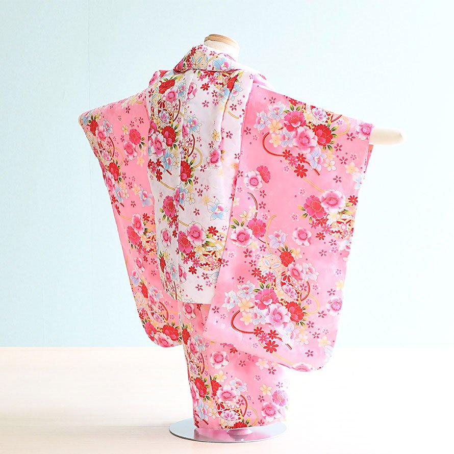 七五三着物三歳被布レンタルセット(3-59)ピンク・白/花・まり