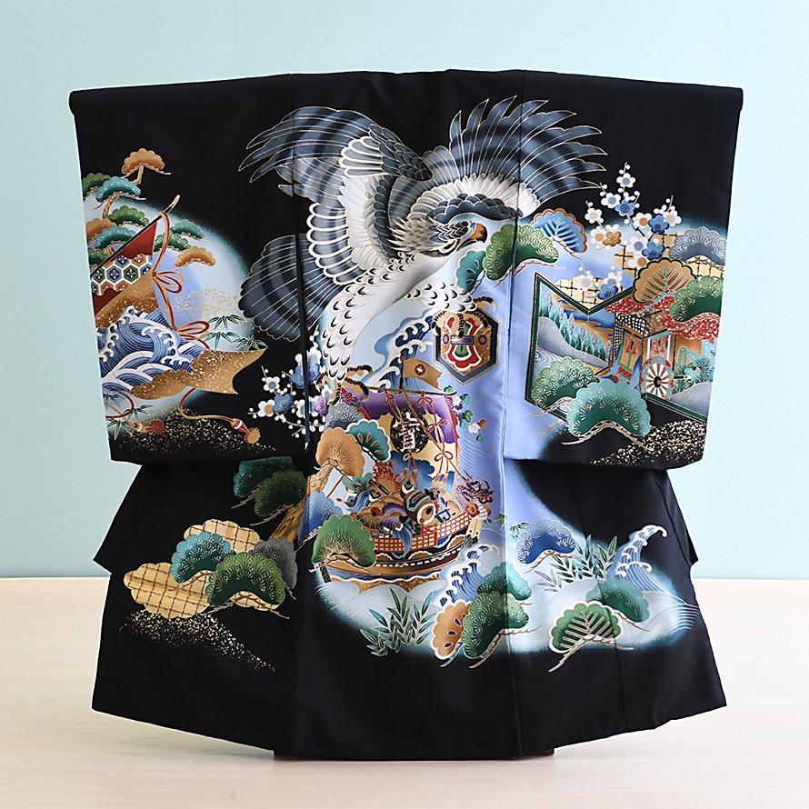 激安格安 お宮参り・初着レンタル 男の子用(OM-22)黒/鷹・宝船|産着・のしめ・祝い着・着物