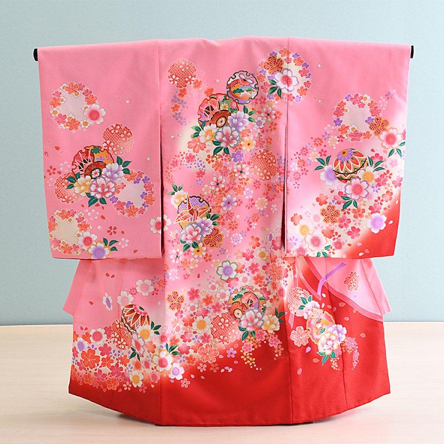お宮参り・初着レンタル 女の子用(O-24)ピンク/つづみ・まり・雪輪・花