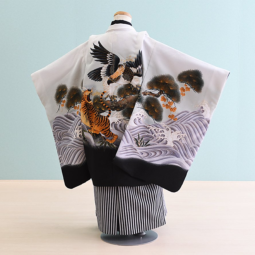 七五三着物五歳羽織袴レンタルセット(5-56)白/鷹・虎
