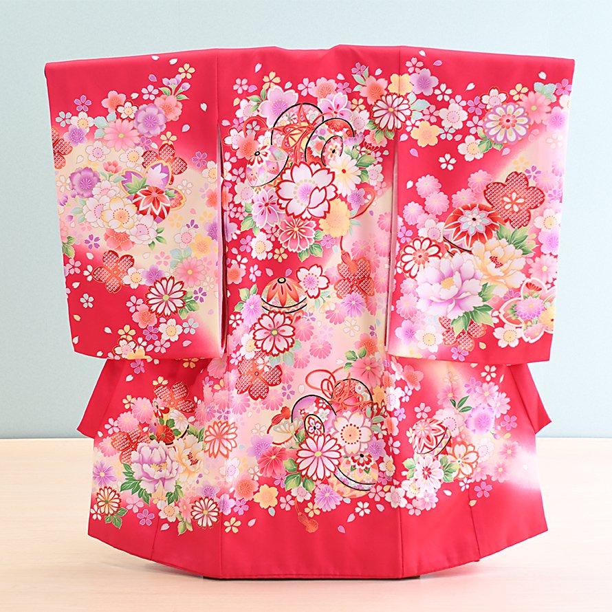 激安格安 お宮参り・初着レンタル 女の子用(O-26)濃いピンク/鼓・鞠・桜 産着・のしめ・祝い着