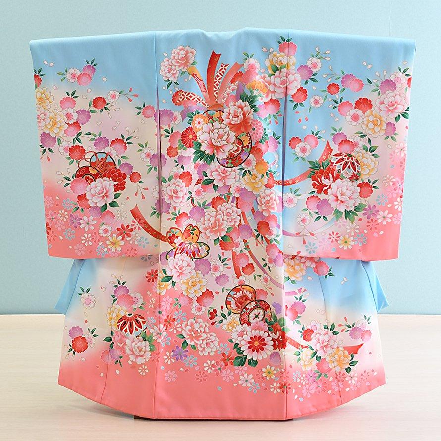 激安格安 お宮参り・初着レンタル 女の子用(O-27)水色・サーモンピンク/牡丹 産着・のしめ・祝い着