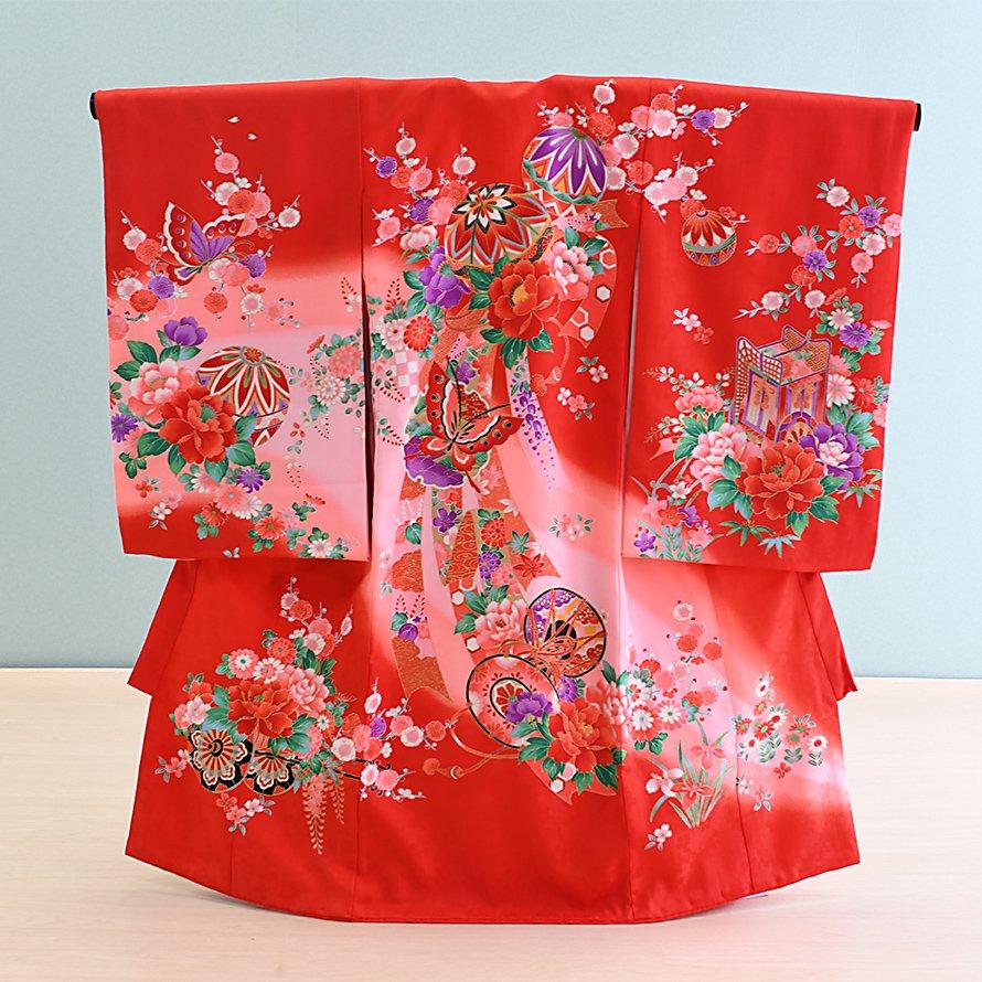 激安格安 お宮参り・初着レンタル 女の子用(O-28)赤・ピンク/鞠・鼓|産着・のしめ・祝い着