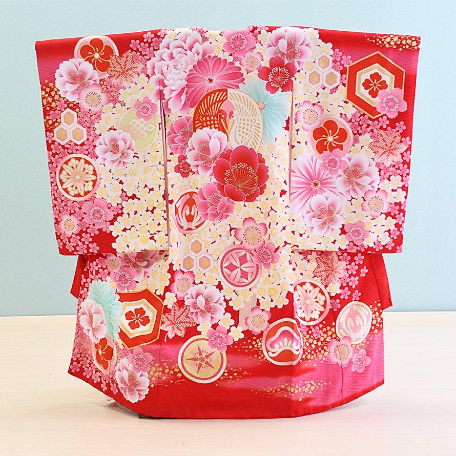 激安格安 お宮参り・初着レンタル 女の子用(O-31)赤/花・つる ジャパンスタイル