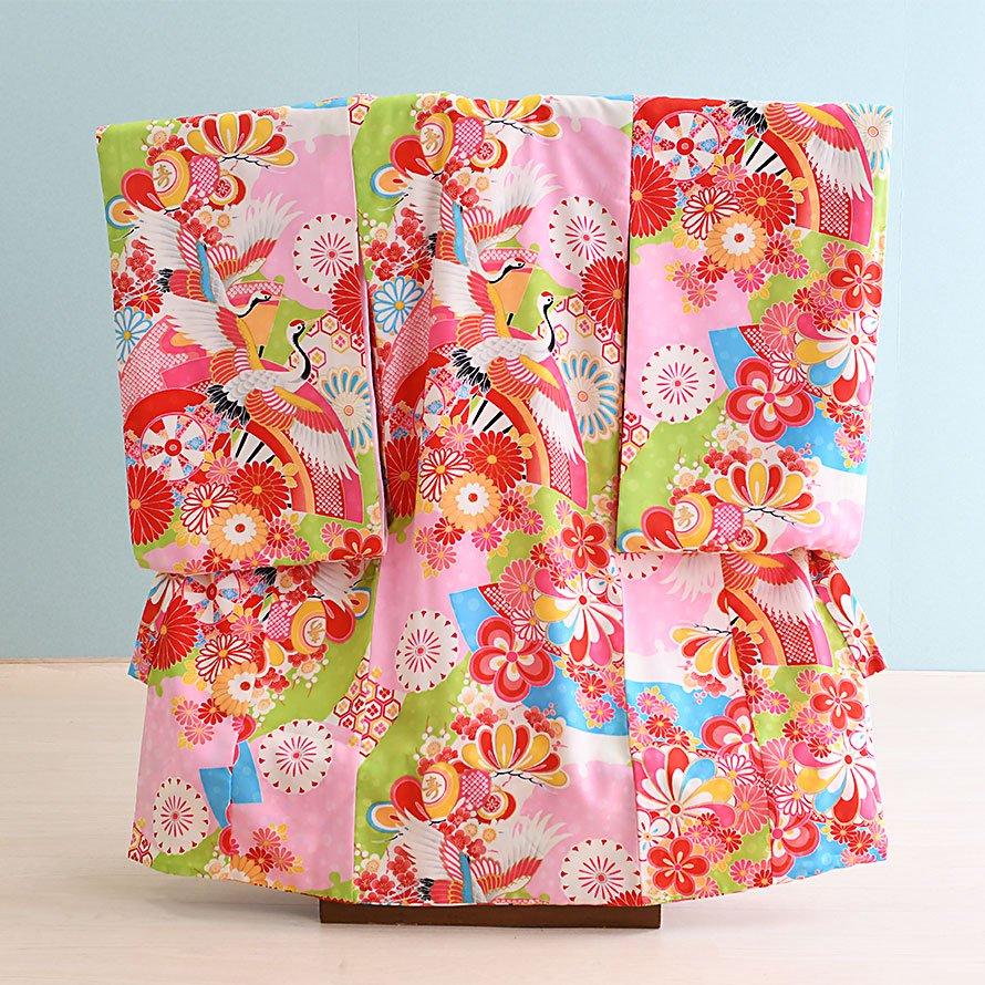 お宮参り・初着レンタル 女の子用(O-33)ピンク/花・つる 紅一点