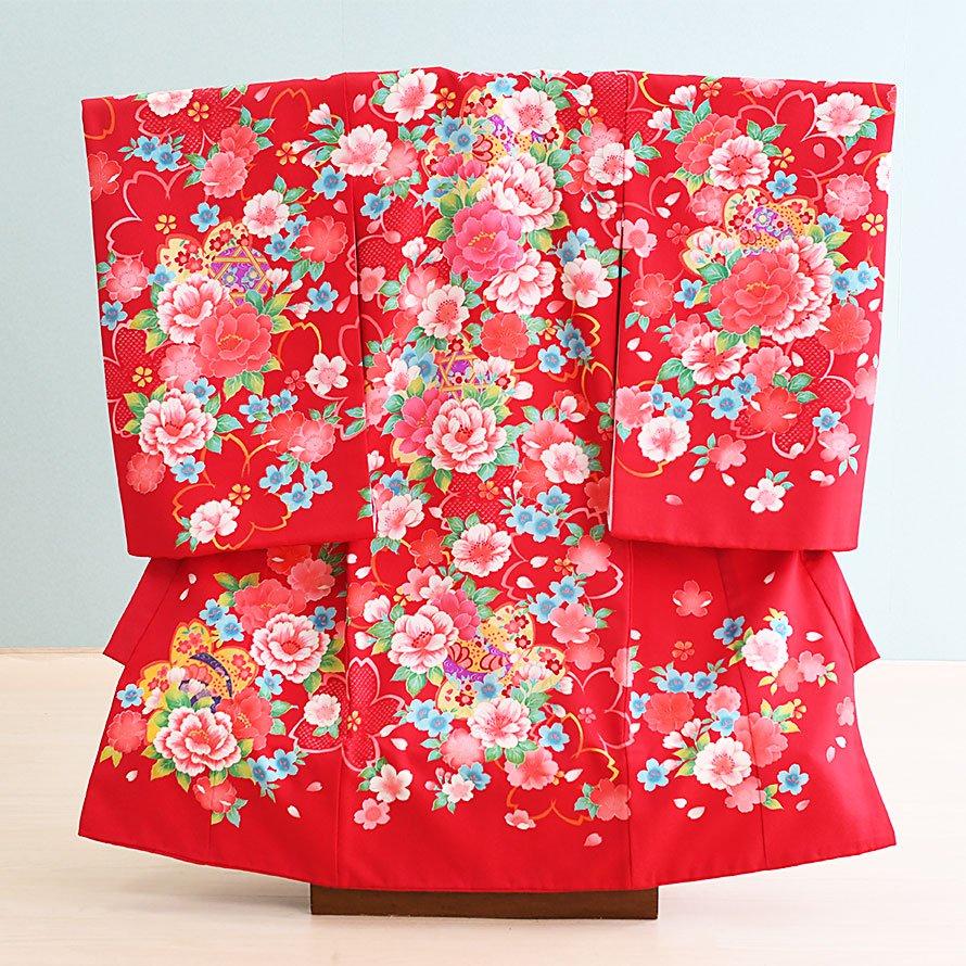 激安格安 お宮参り・初着レンタル 女の子用(O-34)赤/花|産着・のしめ・祝い着