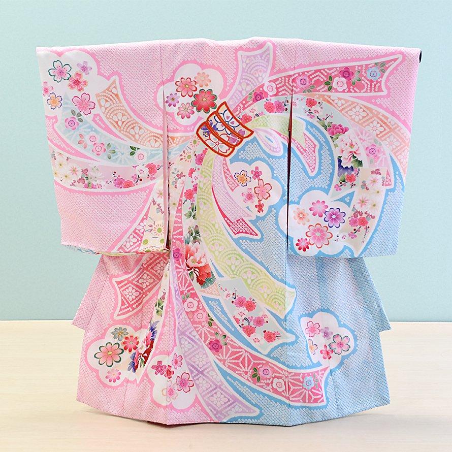 激安格安 お宮参り・初着レンタル 女の子用(O-35)ピンク/花・しぼり 花うさぎ