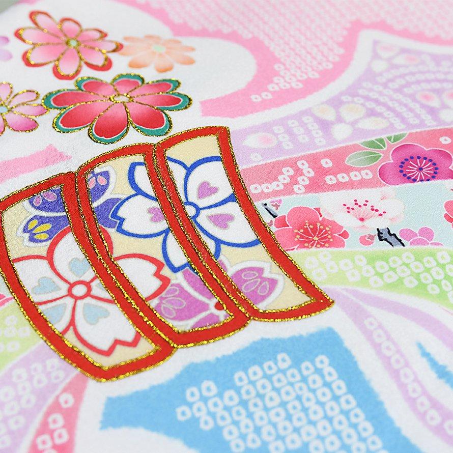 お宮参り・産着レンタル 女の子用(O-35)ピンク/熨斗・花・絞り 花うさぎ