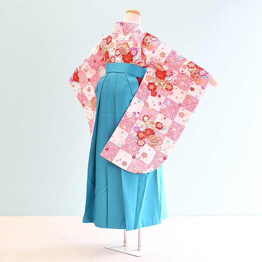 12〜13歳女児ジュニア袴レンタルセット(JG-3)白×ピンク/格子|水色/桜・刺繍