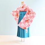 女児ジュニア袴レンタル(JG-3)12〜13歳 白×ピンク/格子|水色/刺繍・桜