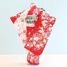七五三着物七歳女の子レンタル(7-55)赤×白/花