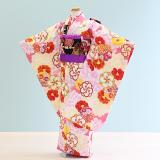 七五三着物七歳女の子レンタル(7-59)ピンク・クリーム/花 花わらべ